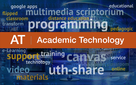 Wordcloud image depicting terms commonly associated with the services provided by the Academic Technology group.