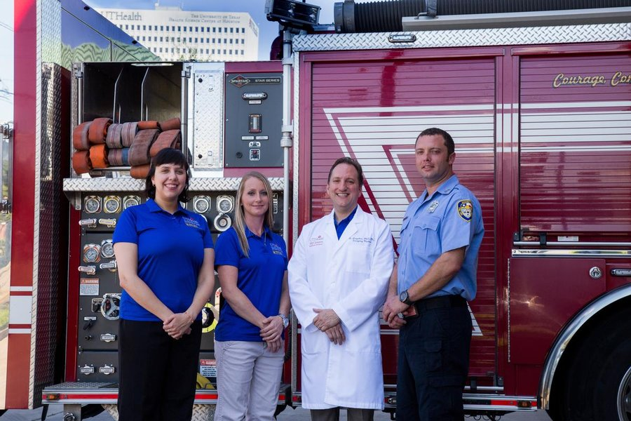 Photo of Katherine Kirages, MSW, program coordinator; Jessica Yeager, recovery coach; James Langabeer, PhD, MBA, program founder; Andrew Kincannon, HFD paramedic and firefighter.