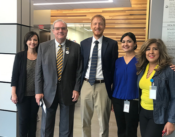 UTHealth announced it would be part of the Texas Communities Count initiative to support a complete 2020 Census count. (L to R: Kristina Mena, PhD; El Paso Mayor Dee Margo; Louis Brown, PhD; Denise Vasquez, MPH; and Sylvia Hernando. Photo by UTHealth).