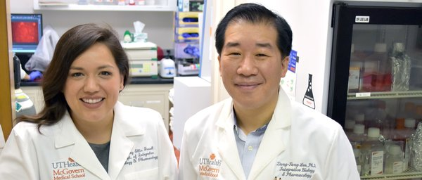 UT System Student Regent Brittany Jewell (left) works with Dung-Fang Lee, PhD (right), to find a treatment for a rare genetic disorder.
