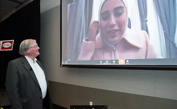 Photo of UTHealth's Jerry Bouquot, DDS, MSD, who gave a talk on mouth ulcers that was watched by Alaa Al-Saffar, DDS, in Kuwait. (Photo by Brian Schnupp/UTHealth School of Dentistry)