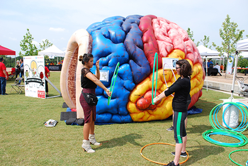 Photo of two women holding hoola hoops standing in front of an inflatable brain exhibit. Photo credit UTHealth