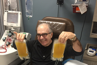 Photo of Jose Abdelnoor, 71, donates his antibody-rich plasma after surviving COVID-19. (Photo credit: Jose Abdelnoor)