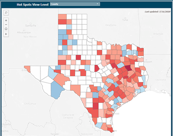 An image of the COVID-19 dashboard, showing the hot-spots at the county-level across Texas. Photo by UTHealth.