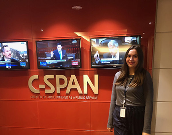 Picture of Caroline Love during her internship with C-SPAN while in college. (Photo courtesy of Caroline Love)