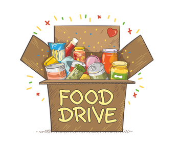 Graphic of a food drive box
