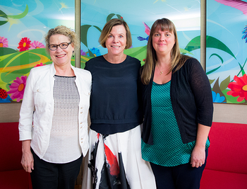 Photo of Carolyn Denton, Ph.D., Susan Landry, Ph.D., and April Crawford, Ph.D., of the Children's Learning Institute at UTHealth.