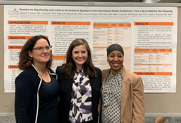 Photo of Louise McCullough, MD, PhD; Lauren Fournier, MD; and Anjail Sharrief, MD, MPH. Photo caption: UTHealth