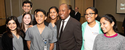 Image of Houston mayor kicks with students at the Diversity and Inclusion Week at UTHealth School of Dentistry