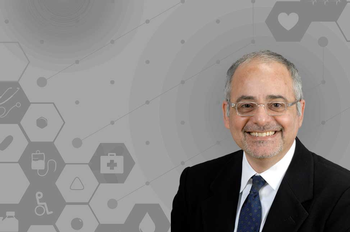 Image of Roberto Arduino, MD, imposed over a grey background.