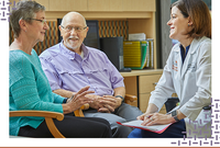 A photograph of a physician with an older couple and the words, at UTHealth, we have many stories to tell.