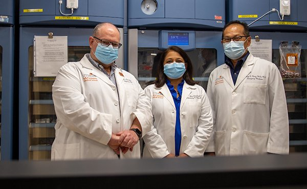 UTHealth researchers and physicians, from left, Luis Ostrosky, MD; Bela Patel, MD; and Henry Wang, MD, MPH, are leading clinical trials on COVID-19. (Photo by Maricruz Kwon/UTHealth)