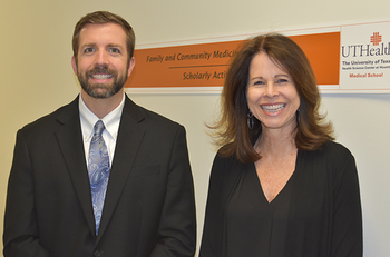 Photo of UTHealth's Angela Stotts, PhD, and Thomas Northrup, PhD. (Photo by Rob Cahill/UTHealth)