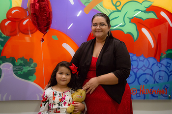 Photo of Michelle Urbina with her daughter Caroline. Photo is by Maricruz Kwon/UTHealth