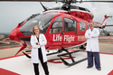 Photo of Lesley Osborn, MD, who has been named medical director of the Memorial Hermann Life Flight® program and David Meyer, MD,  who has been named the program's assistant medical director. (Photo credit: Memorial Hermann Hospital)