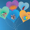 Image of illustrated causes inside balloons in the shape of hearts