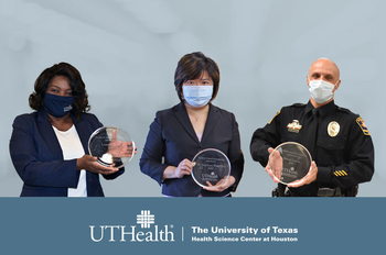 "Photo of the 2020 recipients photoshopped on a light blue grey background. From left to right: Lynnette Lewis, Teng-Yuan ""Erica"" Yu, and Manuel ""Manny"" Leston. (Photos by UTHealth)"