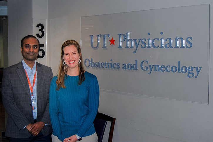 Photo of mental health specialists in the new women's mental health program include Sudhakar Selvaraj, MD, PhD, and Kristin Calverley, PhD. (Photo credit: UTHealth)
