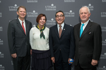 Image of President's Scholar Award winners (from left): Leonard J. Cleary, PhD, Susan H. Landry, PhD, Mark E. Wong, DDS, and Richard J. Andrassy, MD.