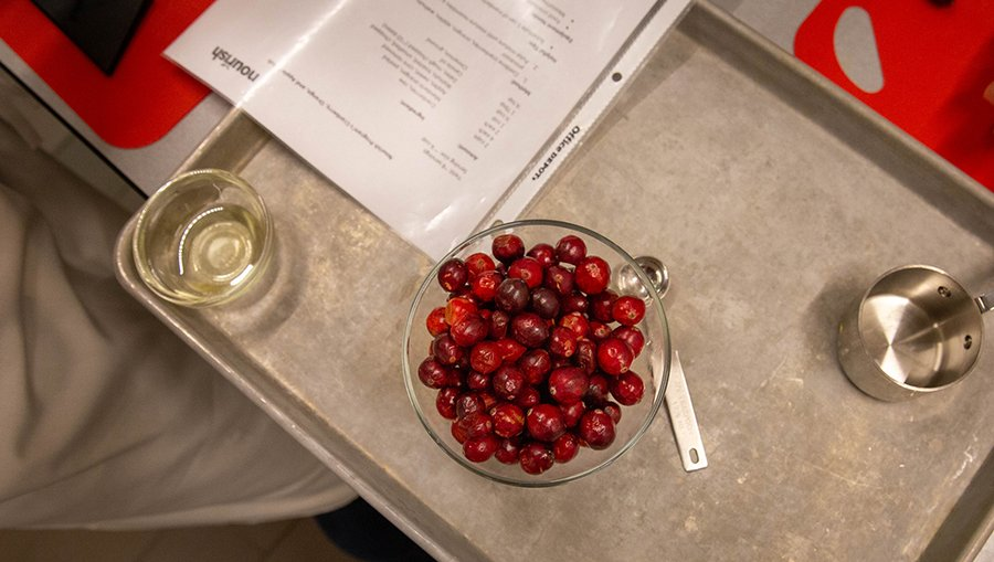 Fresh cranberries in a dish.