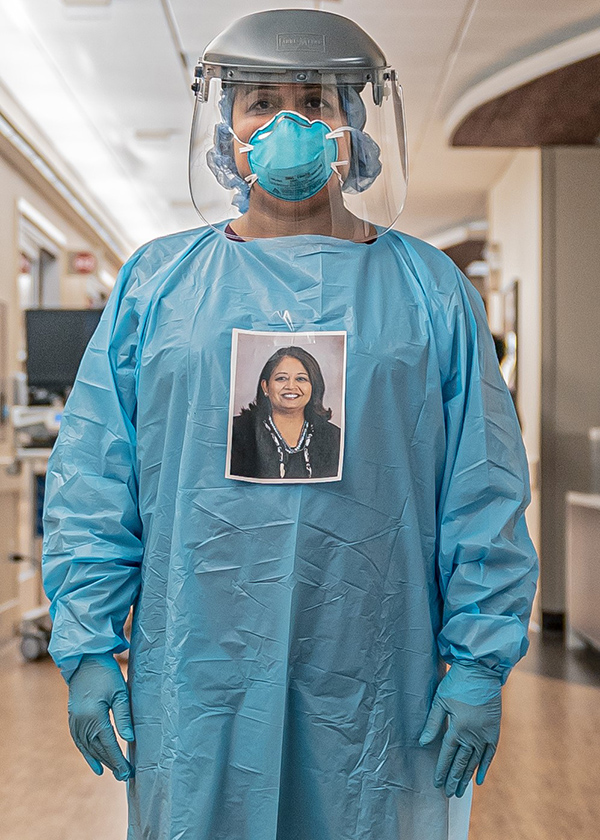 Bela Patel, MD, shown in her PPE , is a co-principal investigator of the Texas site of a clinical trial assessing stem cell therapy for COVID-19 patients with lung injury. (Photo by Memorial Hermann)