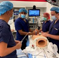 Photo of KuoJen Tsao, MD; Ramesha Papanna, MD, MPH; Stephen Fletcher, MD; and Clifton Brock, MD, practicing the fetoscopic surgery. (Photo credit: Ramesha Papanna, MD, MPH)