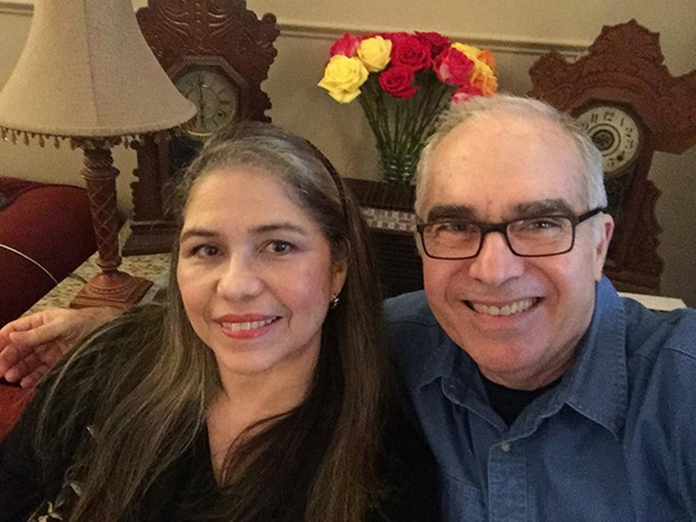 Photo of Jose Abdelnoor and his wife, Evelyn Diaz, who credit their UT Physicians cardiologist with helping them recover from COVID-19. (Photo credit: Evelyn Diaz)