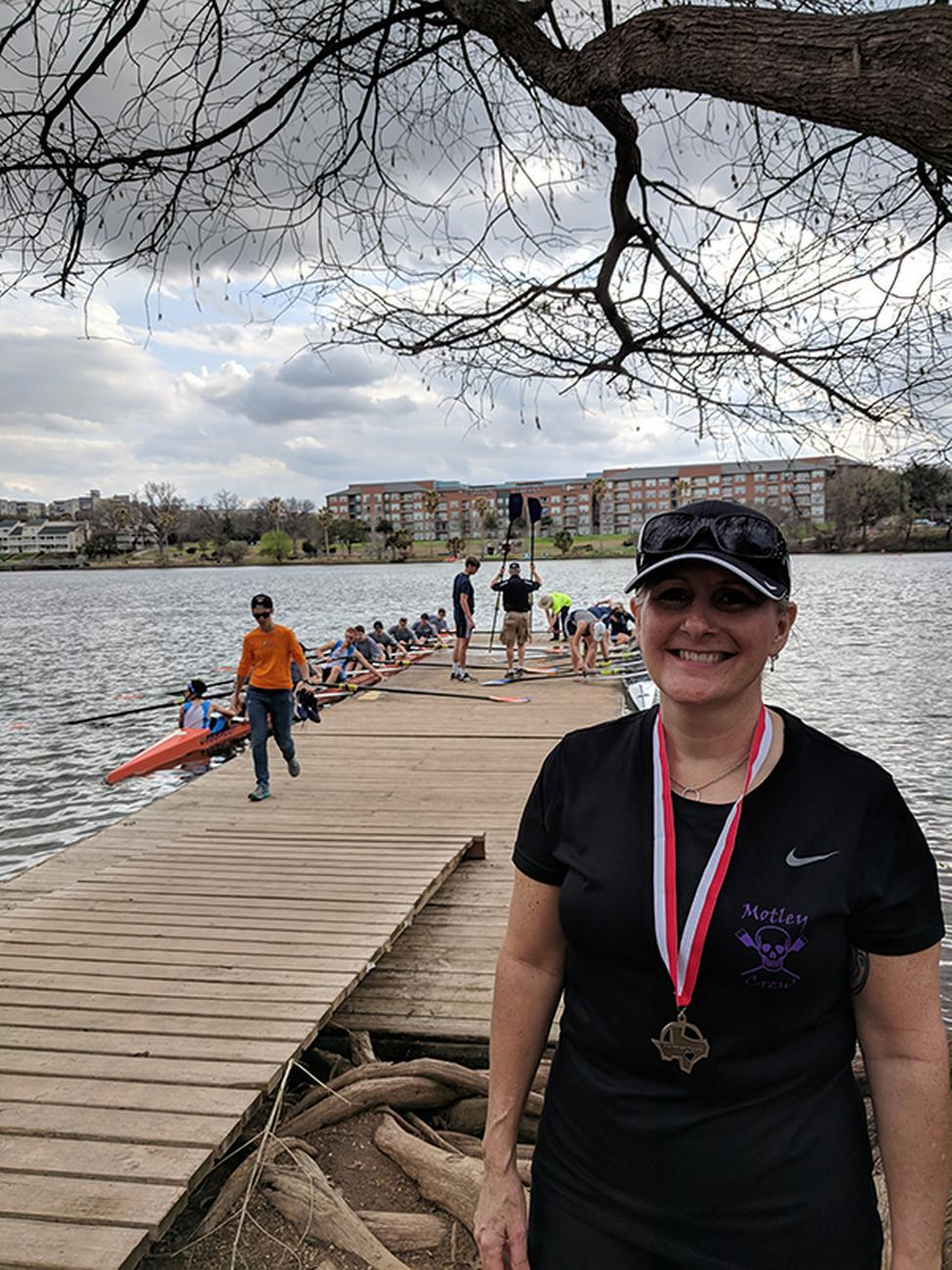 Tammy Foy was able to get back to rowing with her crew following a procedure at UT Physicians. (Photo courtesy of Tammy Foy)
