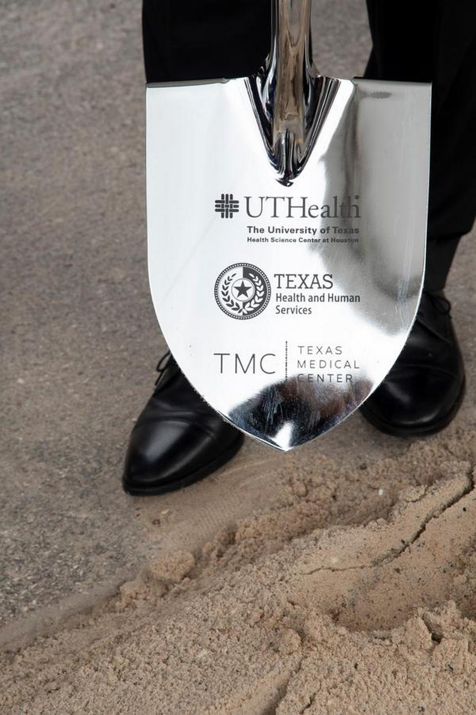 Photo of a shovel for the new 240-bed facility that is a joint project between UTHealth and Texas Health and Human Services Commission. (Photo credit: Dwight Andrews)