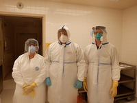 Image of Meena Bhattacharjee, MD, L. Maximilian Buja, MD, and Noah Reilly, DO in PPE.