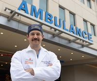 Photo of Dr. Christopher Conner, MD, PhD. His research showed a direct connection between the increased use of ridesharing apps and a decrease in motor vehicle collisions and impaired driving convictions. (Photo by Rogelio Castro/UTHealth)
