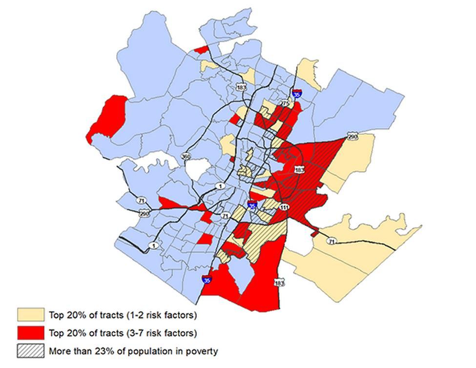 Areas in Austin where residents have the highest concentration of risk factors for developing severe cases of COVID-19 are located predominately in East and North Austin. Much of this population lives in poverty. Image by UTHealth.