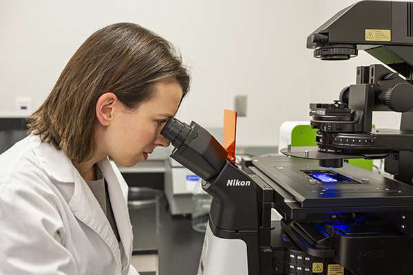 Rachael Sirianni, PhD, has teamed up with Sarah Stabendeldt, PhD, from Arizona State University to look at sex-targeted drug delivery methods for traumatic brain injury. (Photo courtesy of Alisse Pratt/UTHealth Neurosciences)