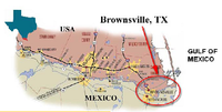 Map - locating Brownsville, Texas, U.S.A.