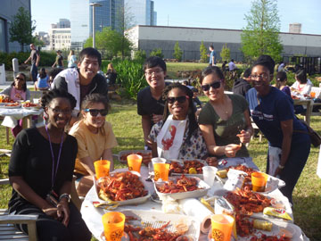 Students Gathered Eating Crawfish