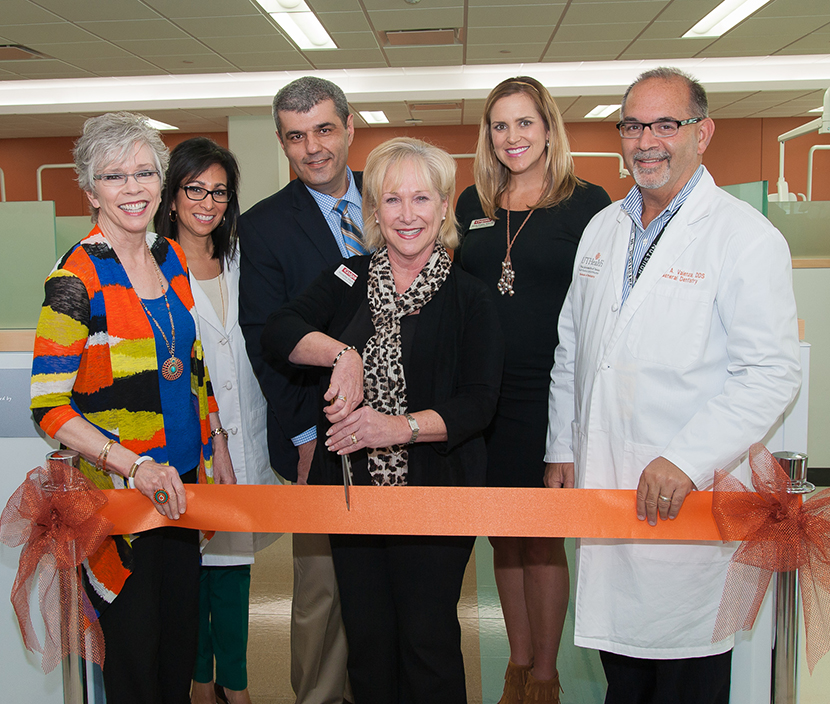 Opening the new Colgate Oral Wellness Center at UTHealth School of Dentistry are (from left) Phyllis Parrott, RDH; UTSD Community Outreach Director Margo Melchor, RDH;  Dr. Nikola Angelov, chair of the Department of Periodontics and Dental Hygiene; Colgate Oral Pharmaceuticals Academic Manager Annette Wolfe, RDH; Colgate Oral Care Consultant Mandy Rogers, RDH; and Dean John Valenza, DDS.