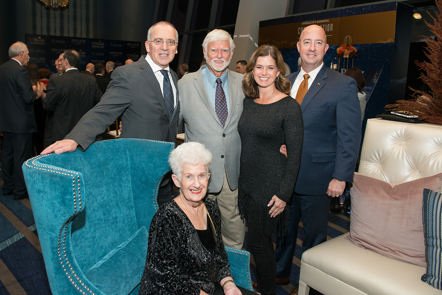UTHealth President Giuseppe N. Colasurdo, MD (left), shares smiles with the Stanley family at the 2018 Constellation Gala. From left to right are Alvern and Bill Stanley with their daughter Shari and her husband Bryan Bogle.