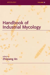 """This is an image of the cover of the book, """"Handbook of Industrial Mycology"""""""