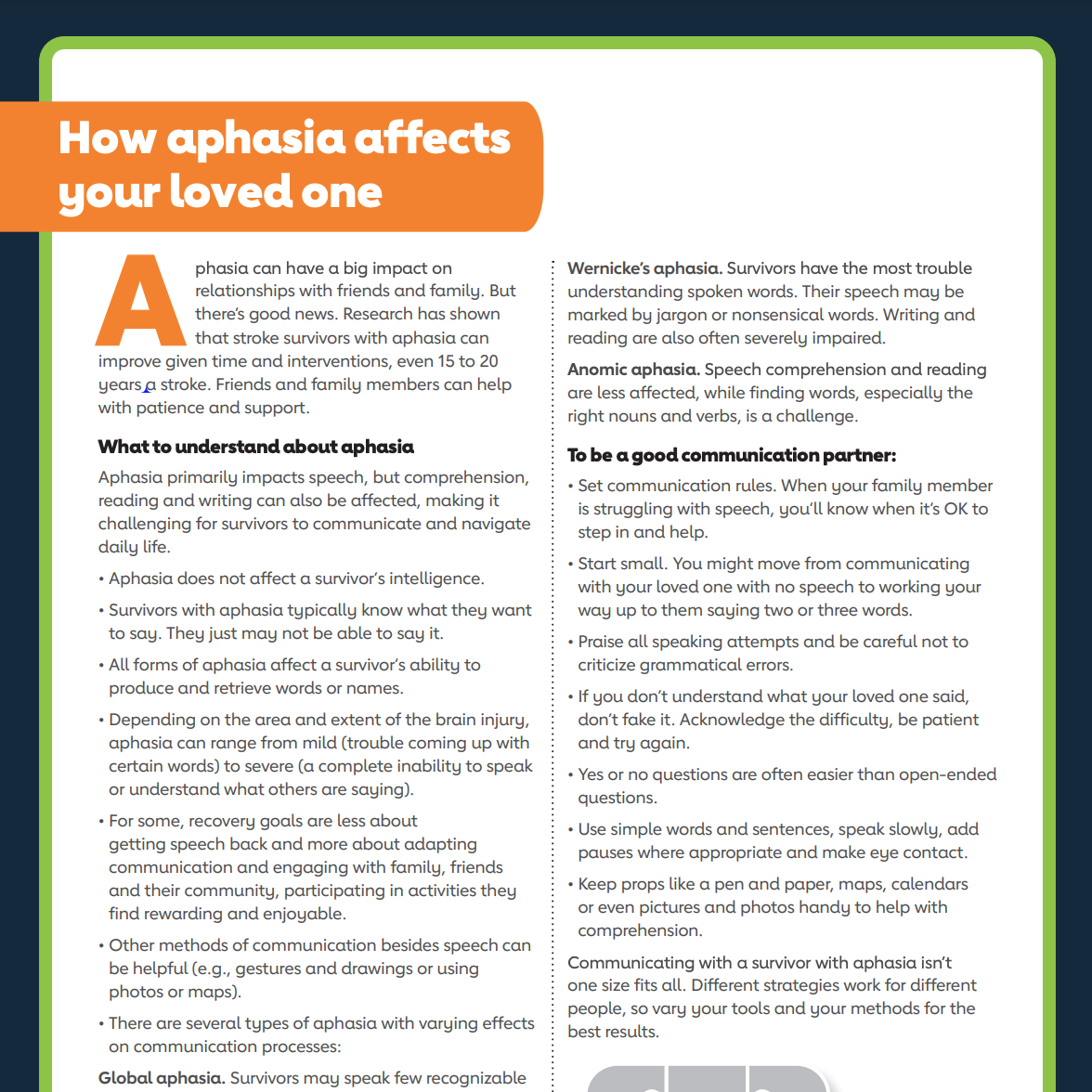 How aphasia affects your loved ones